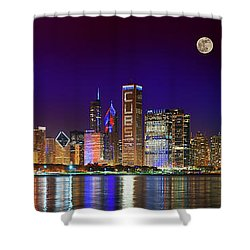 Chicago Skyline With Cubs World Series Lights Night, Moonrise, Lake Michigan, Chicago, Illinois Shower Curtain