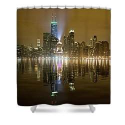 Chicago Skyline With Lindbergh Beacon On Palmolive Building Shower Curtain
