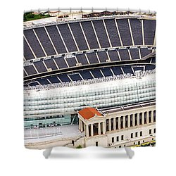 Chicago Soldier Field Aerial Photo Shower Curtain by Paul Velgos