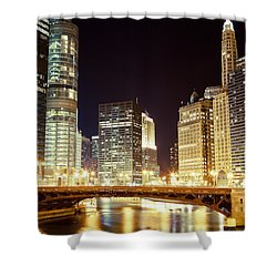 Chicago State Street Bridge At Night Shower Curtain by Paul Velgos