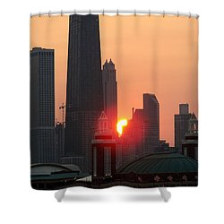 Chicago Sunset Shower Curtain by Glory Fraulein Wolfe