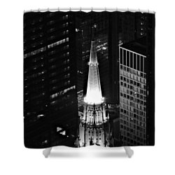 Chicago Temple Building Steeple Bw Shower Curtain