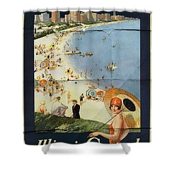 Chicago The Vacation City - Vintage Poster Folded Shower Curtain