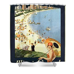 Chicago The Vacation City - Vintage Poster Restored Shower Curtain