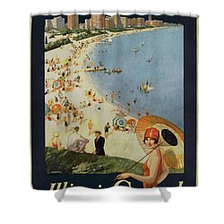 Chicago The Vacation City - Vintage Poster Vintagelized Shower Curtain