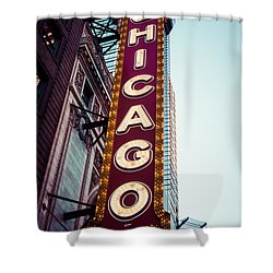 Chicago Theatre Marquee Sign Vintage Shower Curtain by Paul Velgos