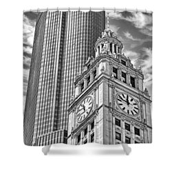Shower Curtain featuring the photograph Chicago Trump And Wrigley Towers Black And White by Christopher Arndt