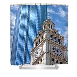 Shower Curtain featuring the painting Chicago Trump And Wrigley Towers by Christopher Arndt