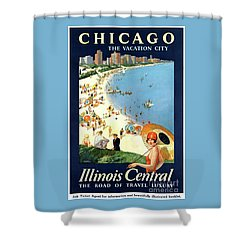 Chicago Vacation City Vintage Poster Restored Shower Curtain by Carsten Reisinger
