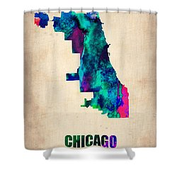 Chicago Watercolor Map Shower Curtain