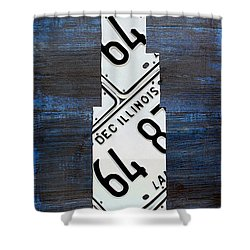 Chicago Windy City Harris Sears Tower License Plate Art Shower Curtain by Design Turnpike