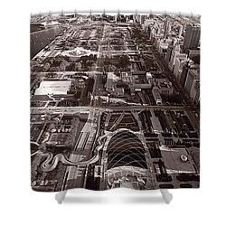 Chicagos Front Yard B W Shower Curtain by Steve Gadomski