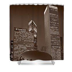 Chicagos Millennium Park Bw Shower Curtain by Steve Gadomski