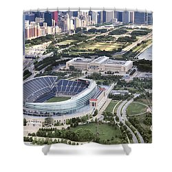 Shower Curtain featuring the photograph Chicago's Soldier Field by Adam Romanowicz