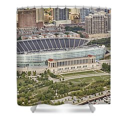Shower Curtain featuring the photograph Chicago's Soldier Field Aerial by Adam Romanowicz