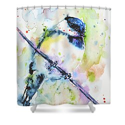 Shower Curtain featuring the painting Chick-a-dee-dee-dee by Zaira Dzhaubaeva