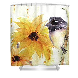 Shower Curtain featuring the painting Chickadee And Sunflowers by Dawn Derman