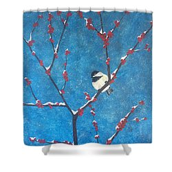 Shower Curtain featuring the painting Chickadee Bird by Denise Tomasura