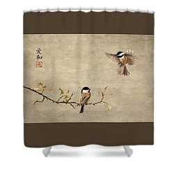 Chickadee Encounter II Shower Curtain