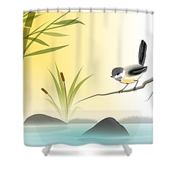Chickadee In Spring Shower Curtain by John Wills
