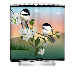 Chickadee Lake Shower Curtain by John Wills