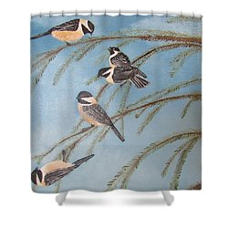 Chickadee Party Shower Curtain