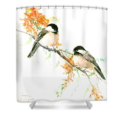 Chickadees And Orange Flowers Shower Curtain by Suren Nersisyan