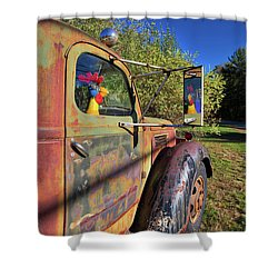 Shower Curtain featuring the photograph Chicken Driver by Edward Fielding