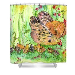 Shower Curtain featuring the painting Chicken Family by Cathie Richardson