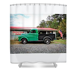 Shower Curtain featuring the photograph Chicken Road Market by Marion Johnson