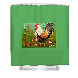 Shower Curtain featuring the painting Chicken Welcome 3 by Belinda Lawson