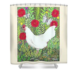 Chicken With Millefleurs And Butterflies  Shower Curtain