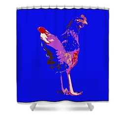Shower Curtain featuring the photograph Chicken With Tall Legs by James Bethanis