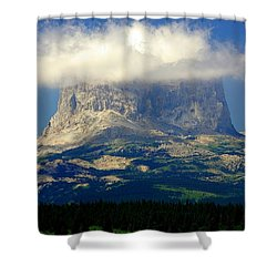 Chief Mountain, With Its Head In The Clouds Shower Curtain