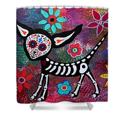 Chihuahua Dia De Los Muertos Shower Curtain