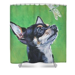 Chihuahua With Dragonfly Shower Curtain by Lee Ann Shepard