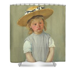 Shower Curtain featuring the painting Child In A Straw Hat By Mary Cassatt 1886 by Movie Poster Prints