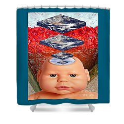 Child In Flat Worlds Shower Curtain by Keith Dillon