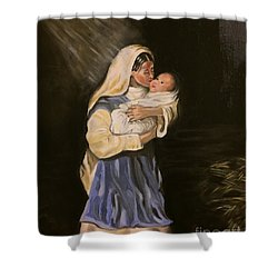 Child In Manger Shower Curtain