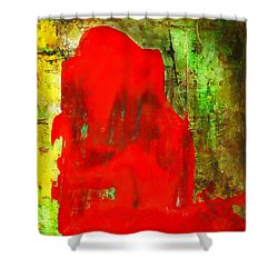 Colorful Red Abstract Painting - Child In Time Shower Curtain