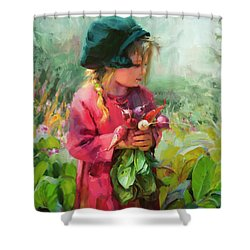 Shower Curtain featuring the painting Child Of Eden by Steve Henderson