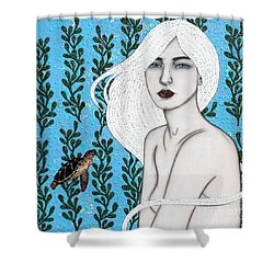 Shower Curtain featuring the mixed media Child Of The Ocean by Natalie Briney