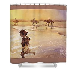 Shower Curtain featuring the painting Child On Beach- Ocracoke Island, Nc by Ryan Fox