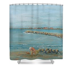 Child Playing At Provence Beach Shower Curtain by Nadine Rippelmeyer