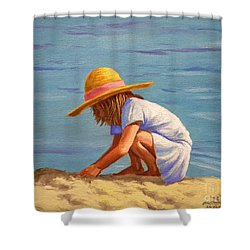 Child Playing In The Sand Shower Curtain