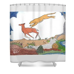 Shower Curtain featuring the drawing Childhood Drawing Cougar Attacking Deer by Dawn Senior-Trask