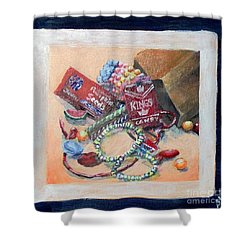 Shower Curtain featuring the painting Childhood Treasure by Saundra Johnson