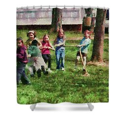 Children - Tug Of War  Shower Curtain by Mike Savad