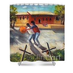 Shower Curtain featuring the painting Tres Cruces De La Juventud Y La Vejez by Randol Burns