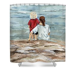 Children By The Sea  Shower Curtain